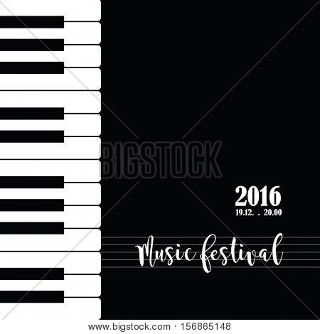 Music piano festival poster template. Background with piano keys. Piano keyboard. Abstract background.