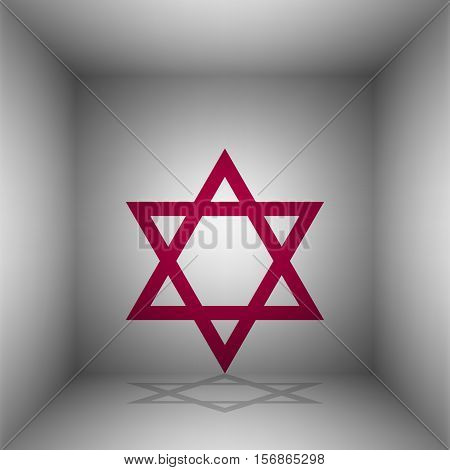 Shield Magen David Star. Symbol Of Israel. Bordo Icon With Shadow In The Room.