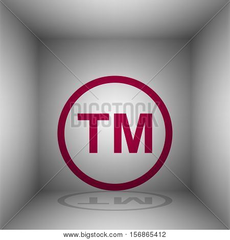 Trade Mark Sign. Bordo Icon With Shadow In The Room.