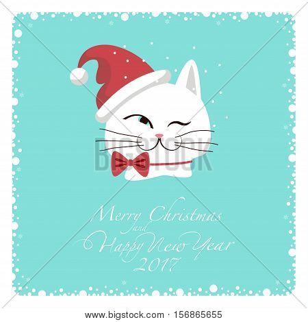 Greeting card. White cat in Santa hat and a red bow at the neck. From the bottom of the postcard the phrase merry christmas and happy new year and numbers: two, zero, one ,seven.