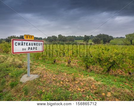Chateauneud du Pape village sign in Provence, France