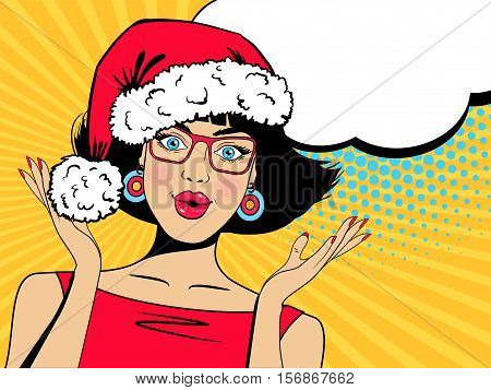 Wow christmas face. Sexy surprised woman in red Santa Claus hat and glasses with open mouth rising hands speech bubble. Vector Christmas background in pop art retro comic style. Party invitation.