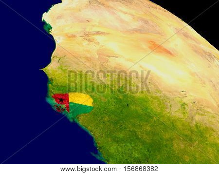 Guinea-bissau With Flag On Earth