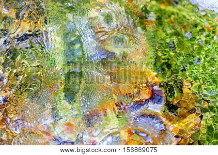 The colored stone bottom of the sea
