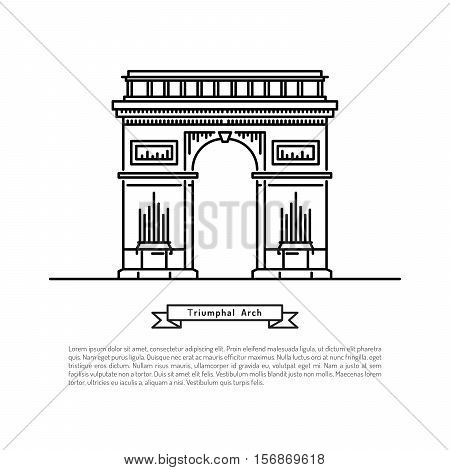 The building of the arc de Triomphe Pariss, made in the style of outline with place for text. Outline Paris landmark