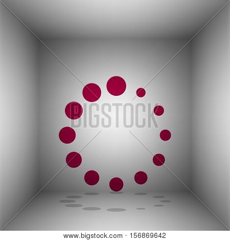 Circular Loading Sign. Bordo Icon With Shadow In The Room.