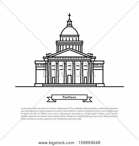 The building of the pantheon, made in the style of outline with place for text. Outline Paris landmark