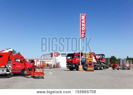 Lyon, France - July 3, 2016: Loxam rental company building. Loxam is a French company of rental equipment in Europe