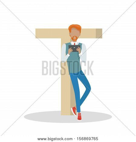 Gadget alphabet. Letter - T. Man with tablet standing near letter. Modern youth with electronic gadgets. Social media network connection. Simple colored letter and people with electronic devices