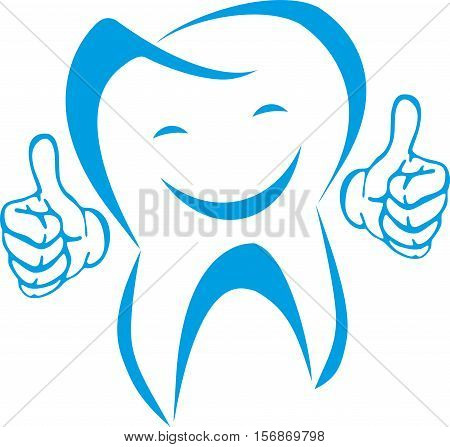 Tooth with hands and smile, tooth and dentist logo