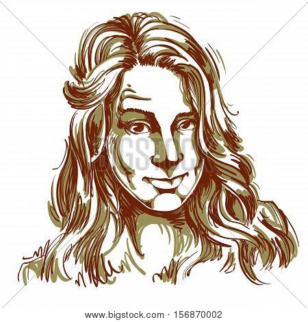Hand-drawn portrait of white-skin skeptic woman face emotions theme illustration.