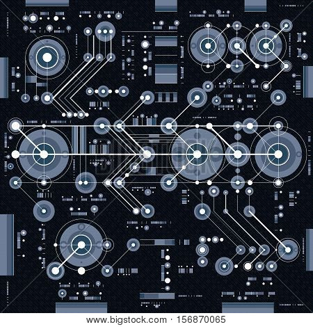 Vector industrial and engineering background future technical plan. Perspective blueprint of mechanism mechanical scheme.