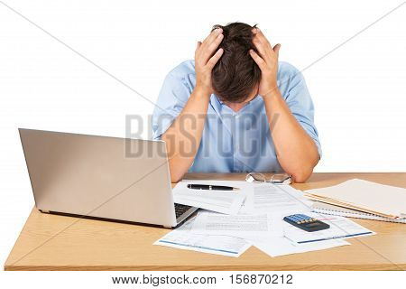 Portrait of a Desperate Businessman with Financial Figures and Laptop