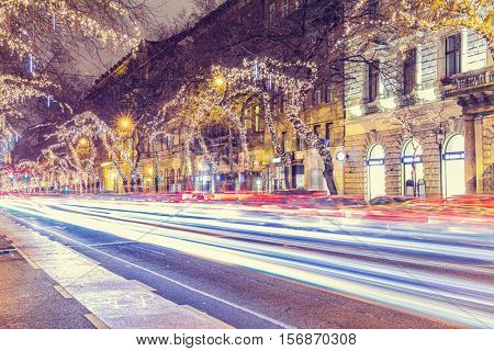 Christmas Light On Central Street in Budapest, Hungary