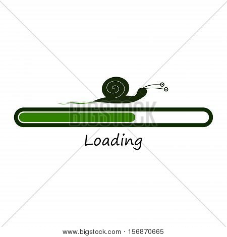Slow green progress loading bar with snail. Funny concept. Illustration isolated on white background.