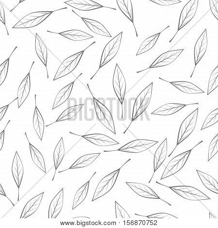 Leaves vector seamless pattern. Flat style illustration. Falling colorless tree leaves on white background. Autumn defoliation. For wrapping paper, greeting card, invitation, printing materials design poster