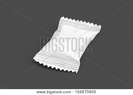 blank packaging candy palstic sachet isolated on gray background with clipping path