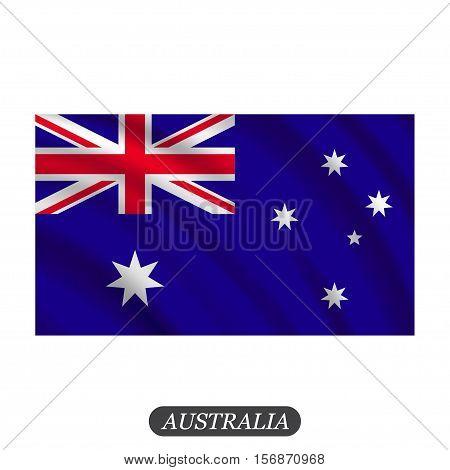Waving Australia flag on a white background. Vector illustration