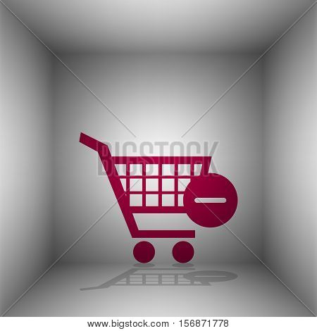 Vector Shopping Cart With Remove Sign. Bordo Icon With Shadow In The Room.