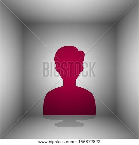 User Avatar Illustration. Anonymous Sign. Bordo Icon With Shadow In The Room.