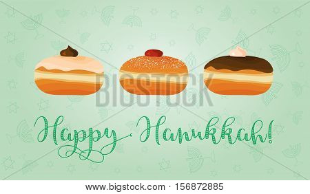 Greeting card for jewish holiday of Hanukkah. Hanukkah sufganiyot - traditional donuts and congratulation - Happy Hanukkah. Vector illustration.
