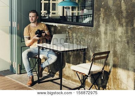 Man Adventure Hangout Traveling Holiday Photography Concept