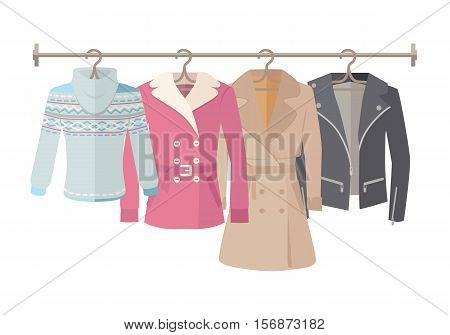 Autumn sale vector web banner. Flat design. Womens jacket, coat, cloak, sweater hanging on the hangers. Seasonal discounts in clothing store concept. For boutique promotions landing page design
