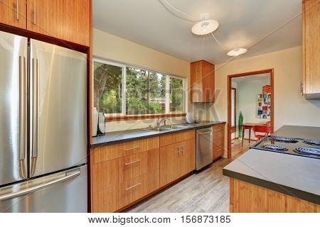 Narrow Kitchen Room With Long Grey Counters