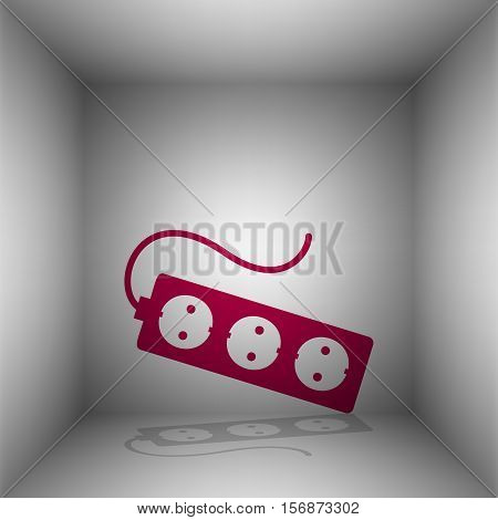 Electric Extension Plug Sign. Bordo Icon With Shadow In The Room.