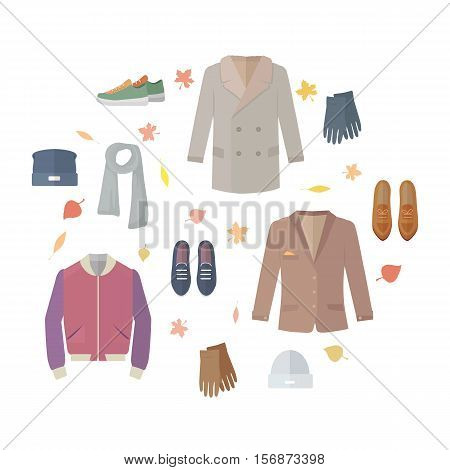 Big autumn sales vector concept. Flat design. Warm mens clothes, shoes and accessories for cold season on orange background with fallen leaves and sticker with text For store discounts ad design