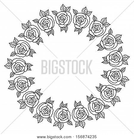 Flowers crown icon. Decoration rustic garden floral nature plant and spring theme. Isolated design. Vector illustration