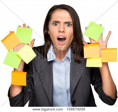 Portrait of a Shocked Businesswoman Covered with Adhesive Notes