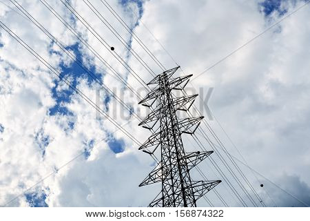 High Voltage Electricity Post over Clouds and Sky for Background Power Technology Concepts
