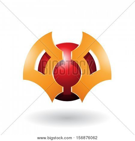 Vector Illustration of a Futuristic Shaped Abstract Sphere and Blade Icon isolated on a white background