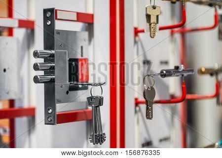 Mortise or cylinder locks on display, color image,
