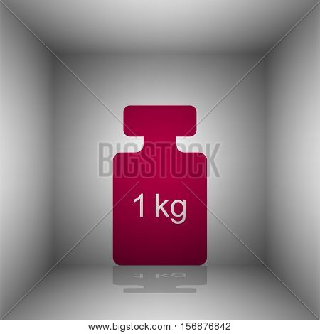 Weight Simple Sign. Bordo Icon With Shadow In The Room.
