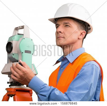 Portrait of a Land Surveyor Working with Modern Theodolite