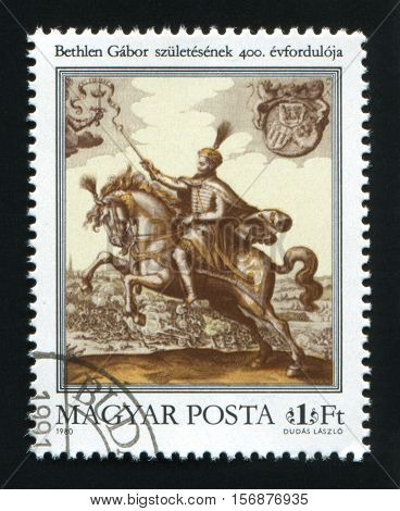 HUNGARY - CIRCA 1980: A postage stamp printed in Hungary shows Gabor Bethlen Copperplate Print circa 1980.