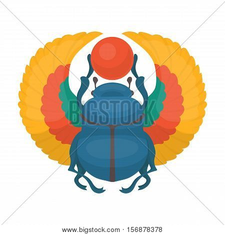 Scarab icon in cartoon style isolated on white background. Ancient Egypt symbol vector illustration.