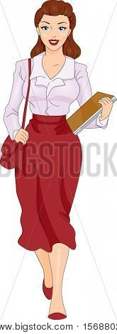 An Illustration of Female Secretary Carrying Papers