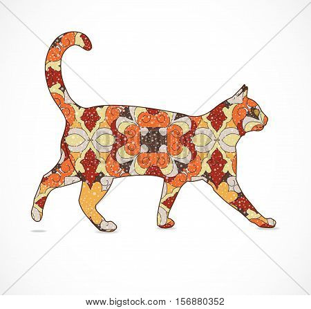 Abstract orange and brown cat. Illustration 10 version.
