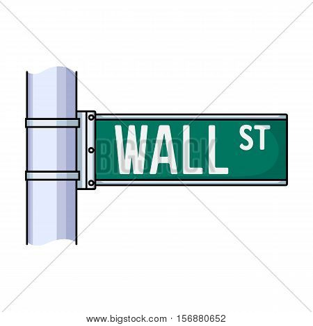 Wall Street sign icon in cartoon style isolated on white background. Money and finance symbol vector illustration.