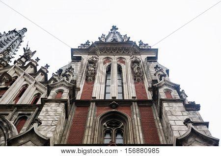 Kiev, Ukraine - April 9, 2016: facade of Nicholas Church in Gothic style.