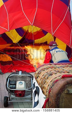 Inflation of hot air balloon preparation for launch