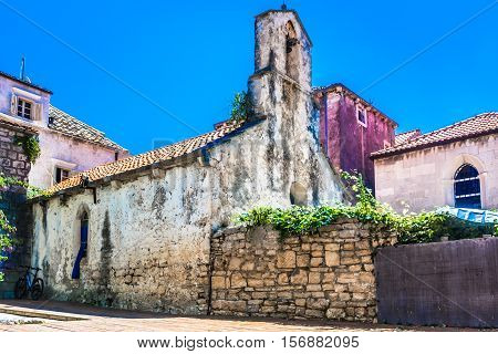 View at old stone church in Korcula town, Croatia Europe.