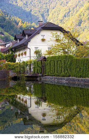 small village in the Julian Alps Slovenia