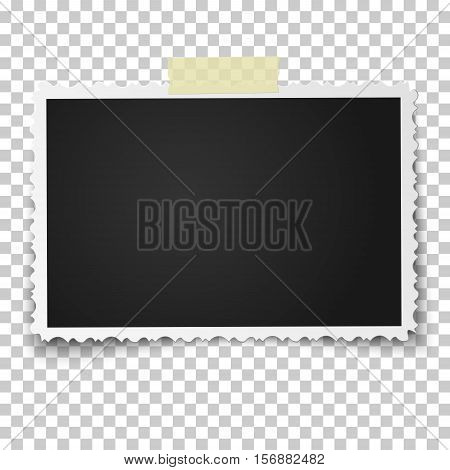 Realistic vector photo frame with retro figured edges on piece of sticky adhesive tape placed vertically. Template photo design.