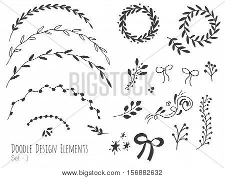 Collection of hand drawn doodle design elements isolated on white background. Set of handdrawn borders. Bunting flags banners. Abstract hand sketched shapes. Vector illustration.