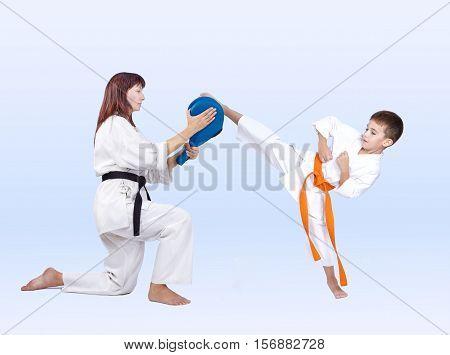 Karateka beats a kick on the Double Kick Pad