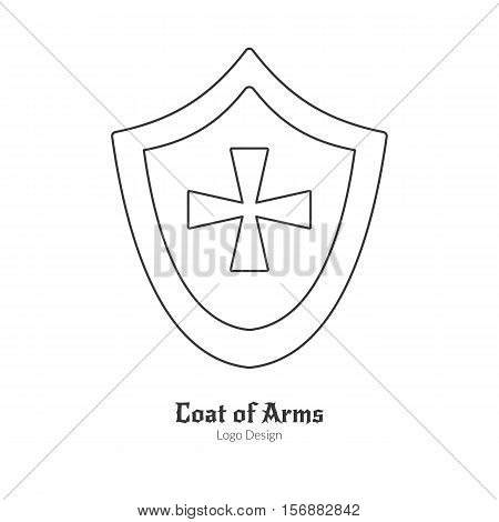Medieval heraldic shield with insignia. Single logo in modern thin line style isolated on white background. Outline medieval theme symbol. Simple mono linear pictogram. Stroke vector logotype template